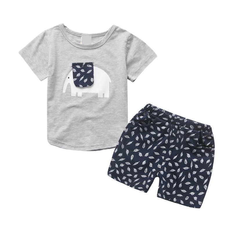 Cute Summer 2 Piece Set Boys Costume 2018 O-neck Baby Girl Clothing Sets Cartoon Kids Tops Shorts Cotton Children Clothes 5cs369