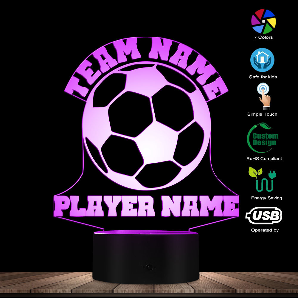 Football 3D Lights Football Team Name Custom LED Lights Personalised Soccer Player Name Table Lamp Custom Made LED Night Light