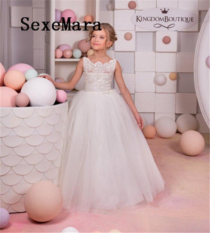 купить White Ivory 2019 Flower Girls Dresses for Wedding Puffy Tulle Lace Tulle Beads Ball Gown Custom Made Girls First Communion Dress онлайн