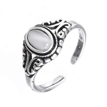 Hot sell fashion retro style thai silver natural opal stone female 925 sterling silver ladies`finger rings ring jewelry gift jiashuntai vintage 925 sterling silver rings for women natural semi precious gems stone retro thai silver jewelry
