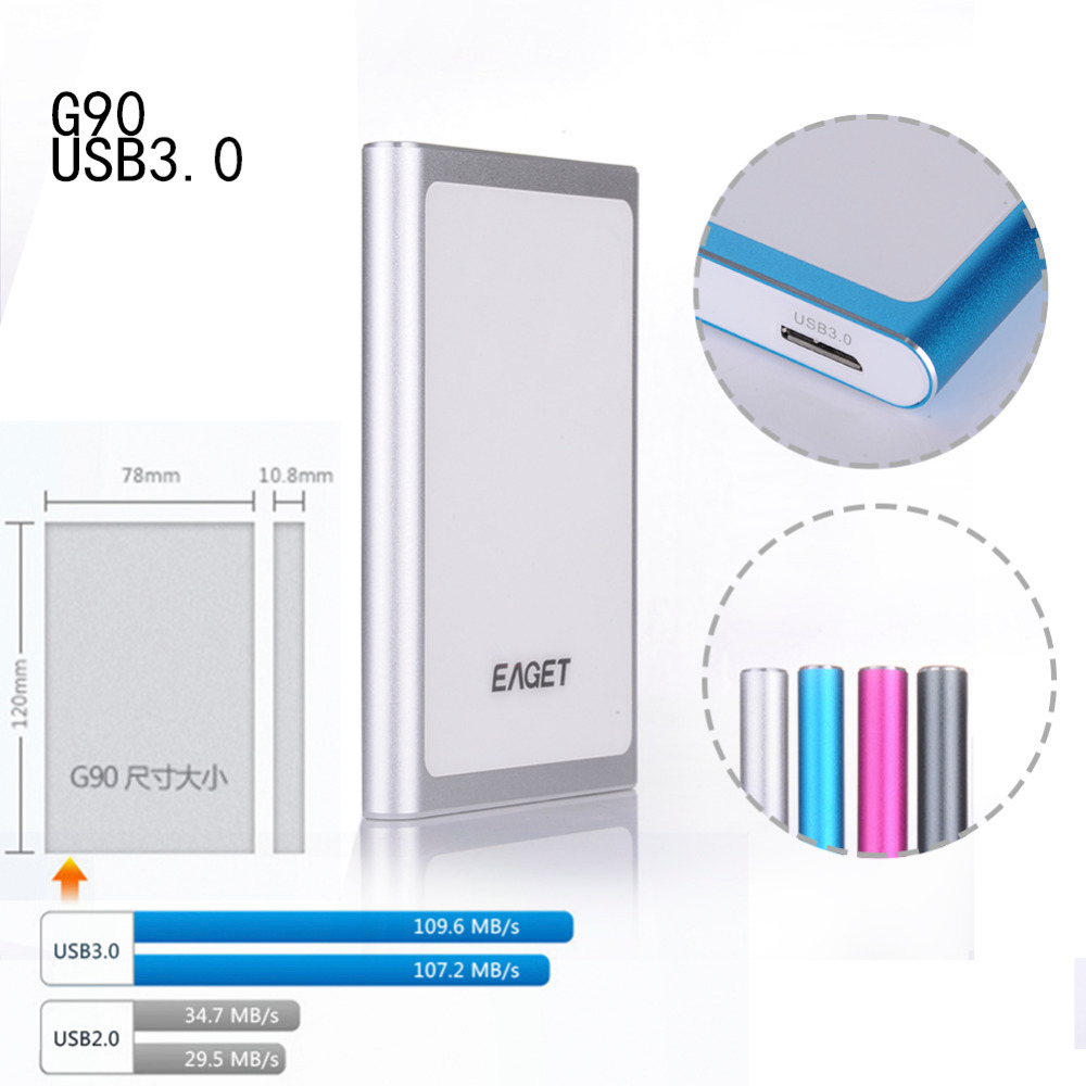 EAGET G90 500GB 1TB HDD 2 5 Ultra thin USB 3 0 High Speed External Hard