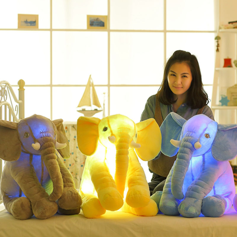 Colorful Glowing Soft Stuffed Plush Toy Elephant Pillow Flashing LED Light Luminous Elephant Doll Baby Birthday Gift for Kids onsale mayitr 5pcs 6 35mm 1 4 male mono plug to rca female jack adapter gold plated audio connector ts for audio converter plug