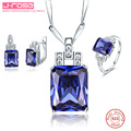 Jrose Famous Brand Women Noble Created Tanzanite Ring Earings Pendant Necklace 925 Sterling Silver Jewelry Sets Fine Jewelry
