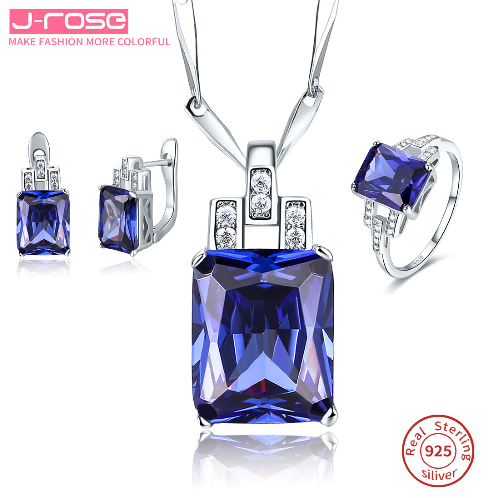 Famous Tanzanite: Jrose Famous Brand Women Noble Ring Earings Pendant