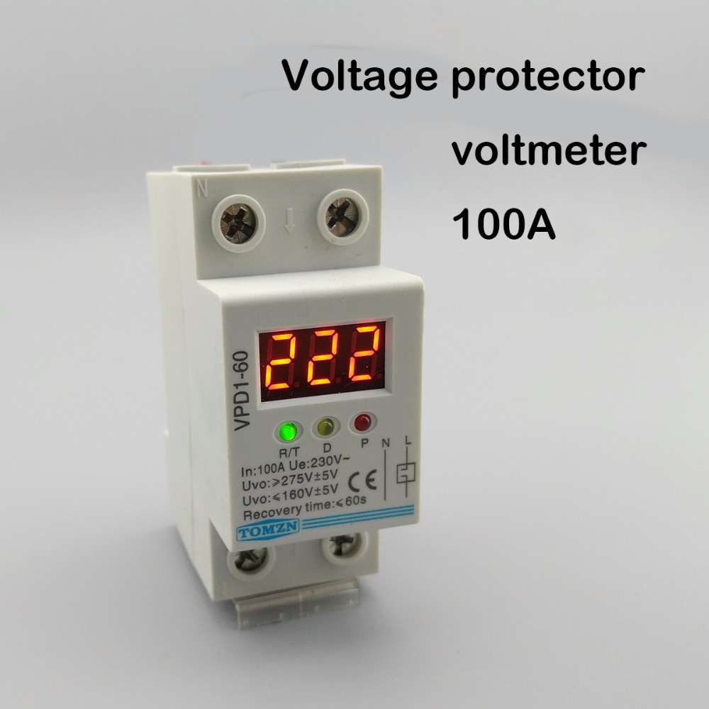 100A 220V  automatic reconnect over and under voltage protection protective device relay with Voltmeter voltage monitor