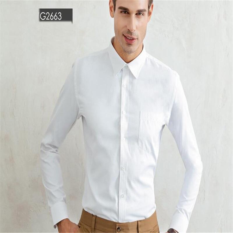 Weißes Herrenhemd mit langen Ärmeln / Günstige Slim Fit Hemden - Herrenbekleidung - Foto 1