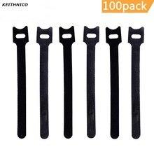 12 KEITHNICO 100 Pcs Reutilizáveis Abraçadeiras de Fixação x 200mm Microfibra Pano de Gancho e Laço de Gerenciamento de Cabo De Fio Organizador cintas