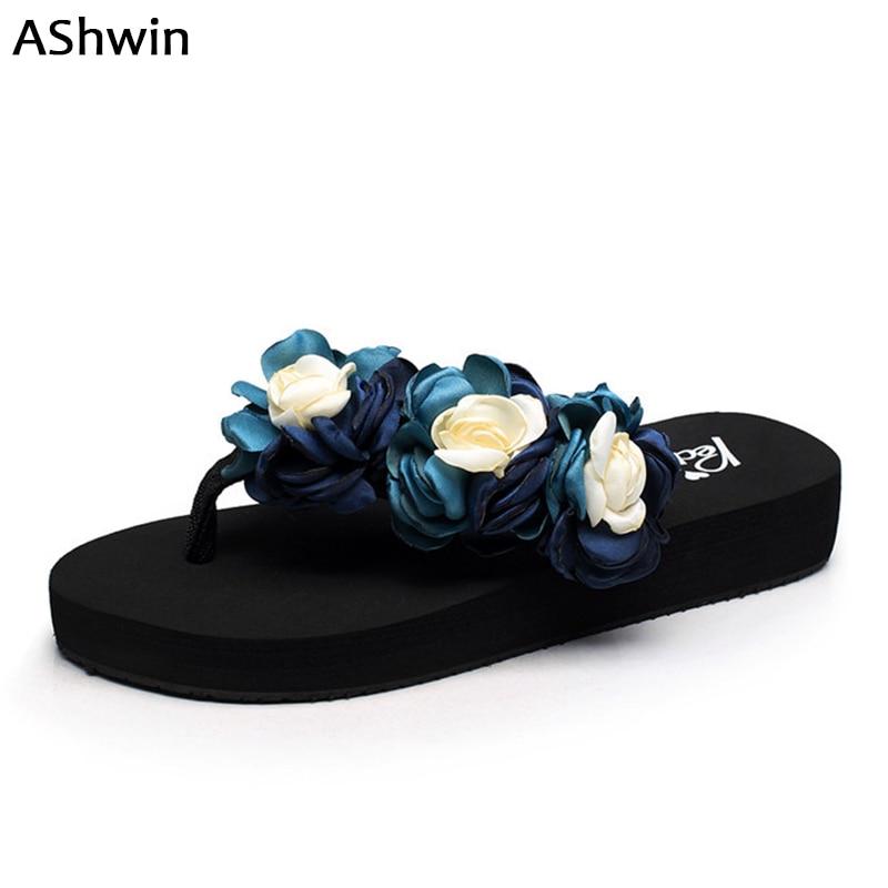 huge selection of 20871 e5f29 US $11.75 14% OFF|AShwin bohemia beach shoes sandals women flip flops  rhinestones flower thong slippers handmade pearls wedge platform sandal35  42-in ...