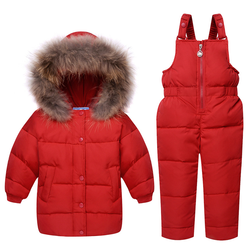 Winter Children's clothing sets Baby girls boy Ski suit sets Kids sport Jumpsuit warm coats fur Duck down Jackets+bib pants new winter baby hat real fur pom pom knitted toddler kid thick warm double raccoon fur balls beanies boys girls bonnet gorros f3
