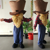 ohlees A long beard Miner big hat Mascot Costume for Halloween christmas Party Costume Cartoon costume suit Outfit adults size