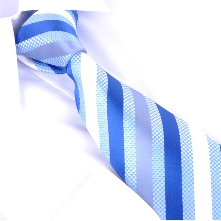 100% silk mens ties brand 2014 men 's blue and silver & white striped gentlemen neckties fashion free shipping lotes atacado