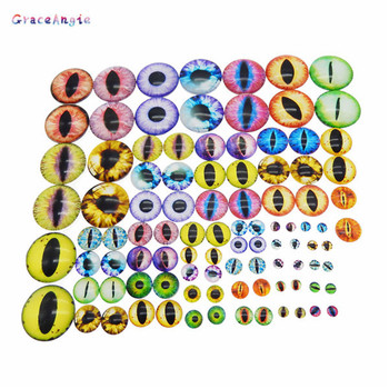 10-50PCS Round 6MM-40MM Glass Dragon Cat Eyes Cabochon Charms Accessory Glass Cabochon Multi Color Horse Eyes Cat Pattern Crafts