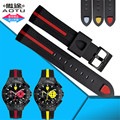 AOTU Nature Silicone Rubber Watch Bnad Soft Waterproof Pin Buckle fit for Ferrari 0830023 0830025 22mm Man Watch Strap+Free Tool