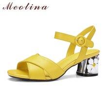 Meotina/натуральная кожа обувь женские босоножки на высоком каблуке Размеры 34–43 модные цветочные сандалии ремешок Повседневная обувь с пряжкой желтый