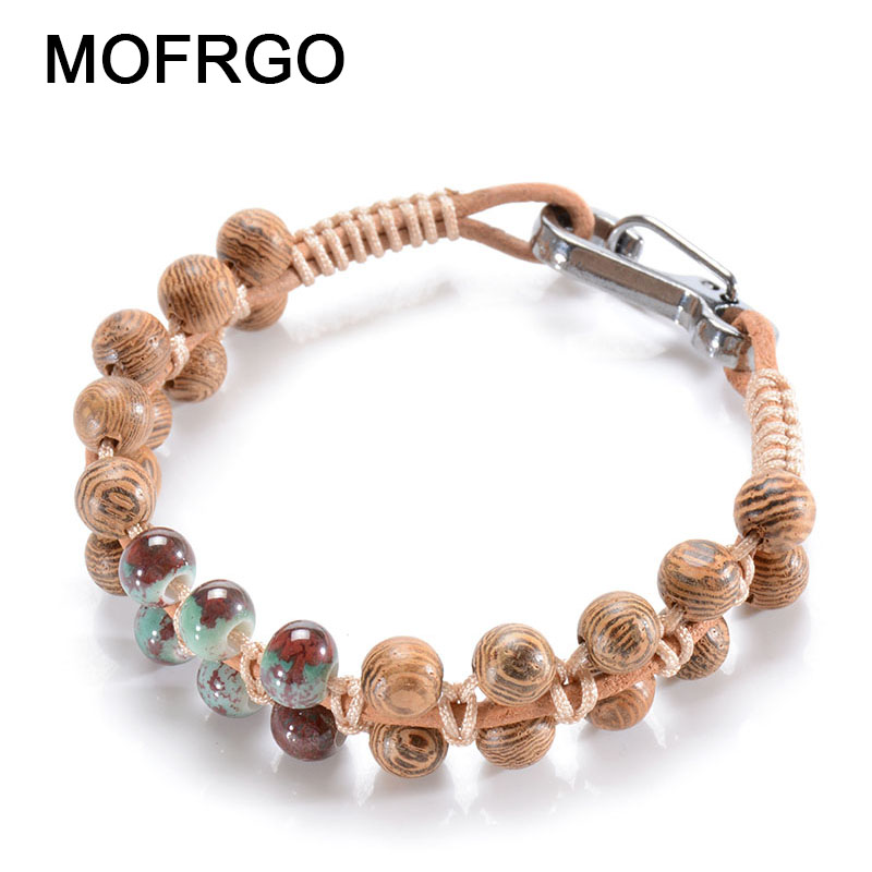 MOFRGO Personalized Ladies Beaded Bracelets Jewelry Natural Wood Ceramic Wax Rope Leather Braided Chinese Style Women Bracelet