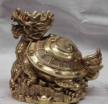 SCY S1154 Chine Cuivre En Laiton Richesse Argent Bénédiction Dragon tortue Tortue Cocu Statue D0318(China)
