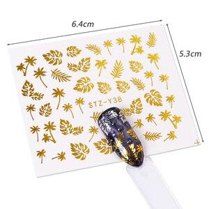 Image 4 - 16pcs Gold Nail Polish Stickers Sieraden Ketting Bloemen Jungle Bladeren Water Decals Sliders voor Nagels Accessoires BESTZ YY16