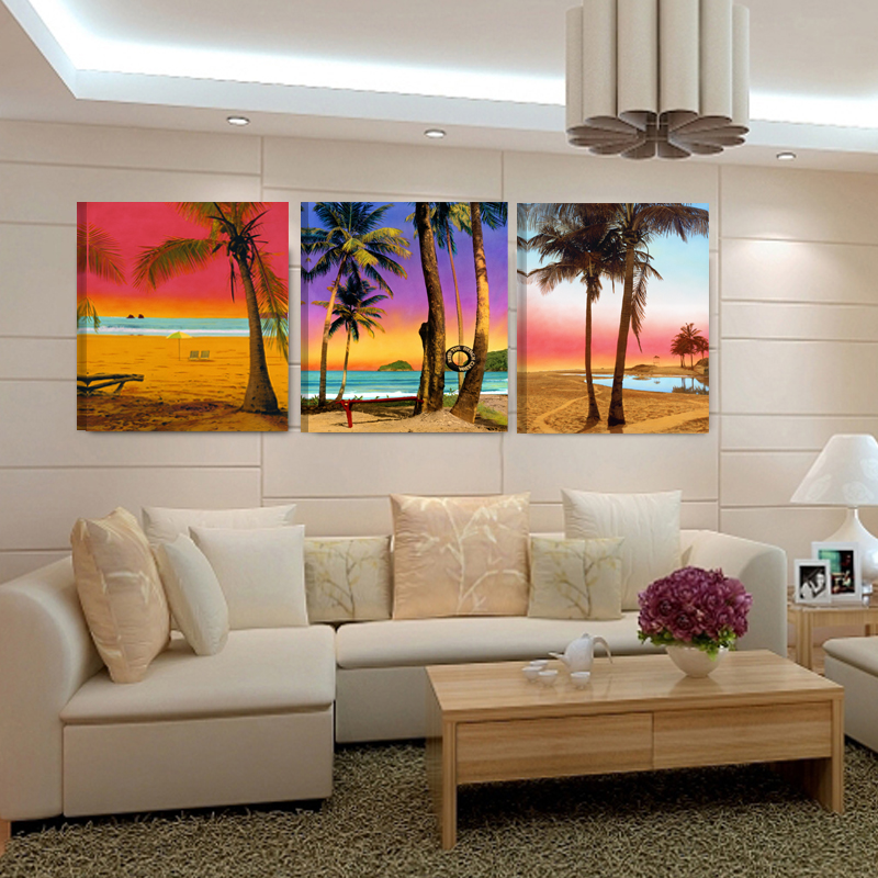 Modern Abstract 3 Piece Wall Art Sea Beach Boat And Coco Landscape Oil Paintings On Canvas Home Decoration Sale no frame canvas