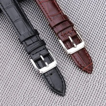neway Genuine Leather Watch Band Wrist Strap 16 18mm 20mm 22mm 24mm Steel Buckle Replacement Bracelet Belt Men Women Black Brown недорого