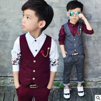 boys suits for weddings Gentleman Boy Suits Children blazers for boys SetsWedding Party suit for boy costume Vest + pants 2piece