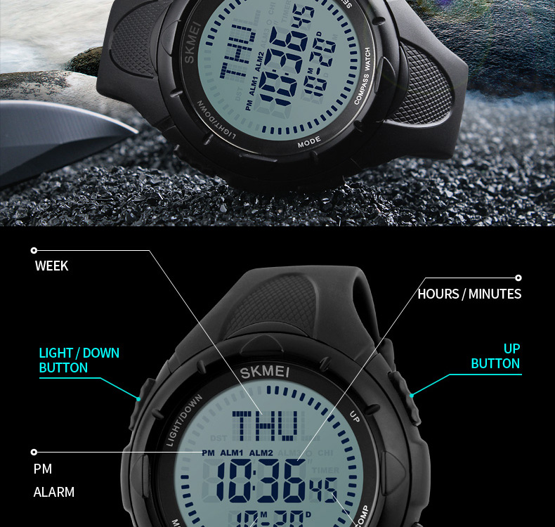 Skmei Sport Watch Fashion Outdoor World Time Summer Countdown Waterproof Digital Wristwatches Men Compass Military Watches 2019 Neither Too Hard Nor Too Soft Digital Watches Men's Watches