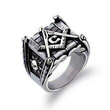 цена JHSL Vintage Statement Free-Mason Rings Men Black Gold Color Titanium steel Fashion Jewelry Anniversary Gift Size 7 8 9 10 11 12 онлайн в 2017 году