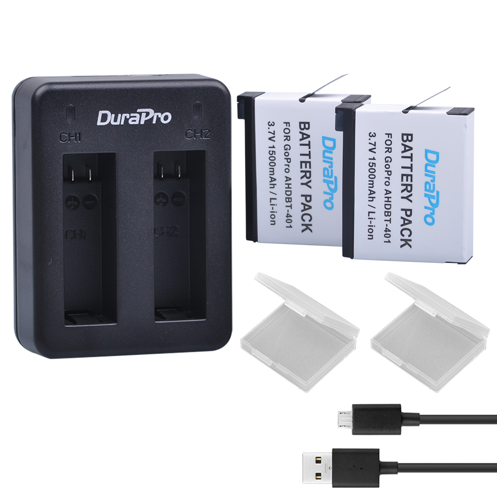 2pc For GoPro AHDBT 401 AHDBT-401 Camera Li-ion Battery + USB Dual Charger for AHDBT401 GoPro Hero 4 HD Camera P0019279