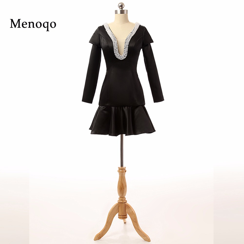 robe de   cocktail   1294P Fashionable Teenager Black Sheath Long sleeve Beaded Pearls short summer   cocktail     dress   2019