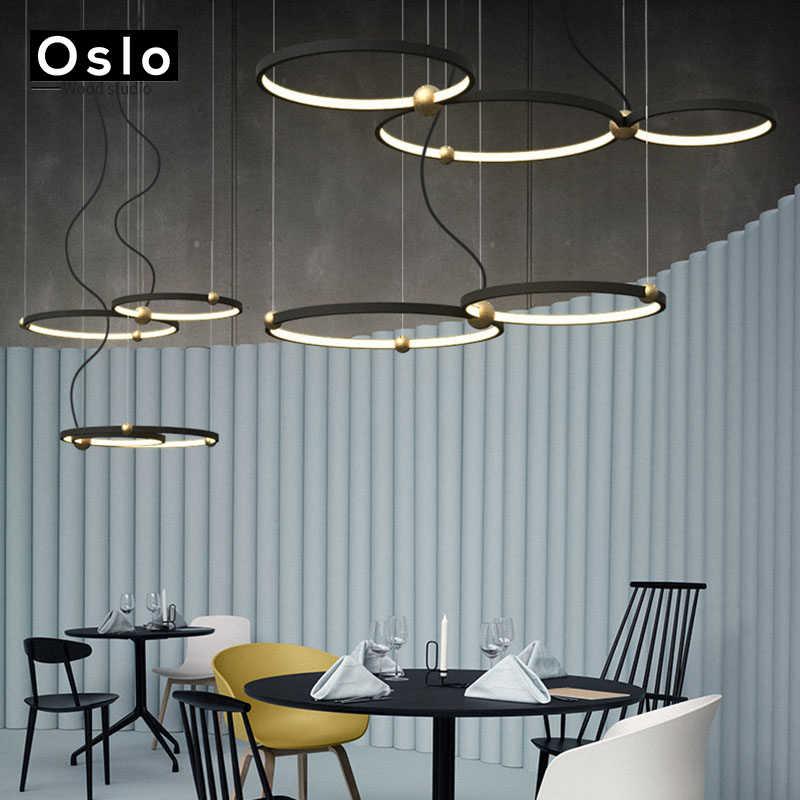 Современная круглая подвесная люстра, освещение для гостиной, спальни, столовой, кухни, комнаты, кольца, алюминиевый подвесной светодиодный светильник