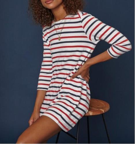 Female Sundress Striped O Neck Mini Dress Woman Summer Brief Dress Plus Size Women Clothes