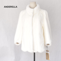 Ladies real mink fur coat white amice short style sleeves imported fur coat real female whole leather stand collar winter coat