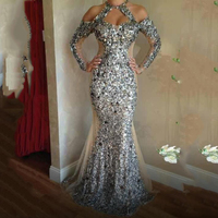 Gorgeous Silver Sequined Crystal Evening Dresses Long Mermaid Sparkly Formal Gowns Amazing Women party DRess Vestidas De Noiva