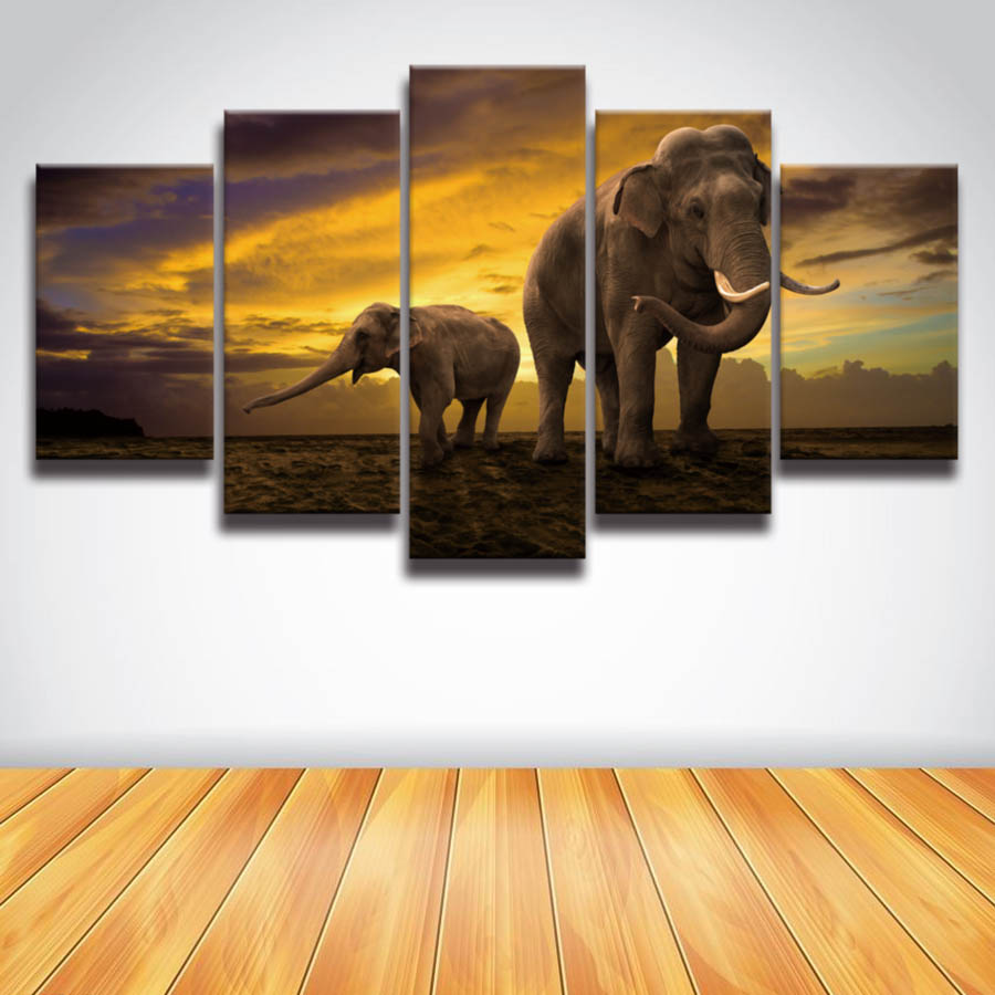 HD Printed African elephant picture painting canvas art frame 5 panels sunset landscape wall decor for room home Print poster