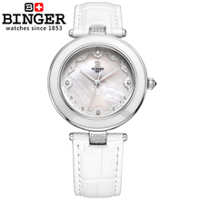 Switzerland Binger Women's watches fashion luxury relogio feminino leather strap quartz butterfly diamond Wristwatches B-3026