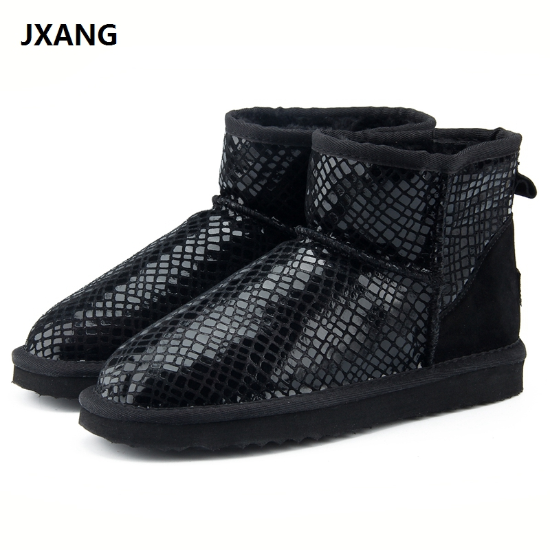 JXANG Top Quality 2018 Winter Women Boots Fashion Genuine Cowhide leather Snow Boots 100% Natural Fur Woman Warm Ankle Shoes jxang fashion thick natural fox fur snow boots women boots 100% real leather waterproof winter warm snow boots ankle boots