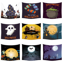 Cartoon Halloween Hanging Large Tapestry Pumpkin Witch Broom Wall Art Picture Living Room Decorate Custom Woven Bedspreads(China)
