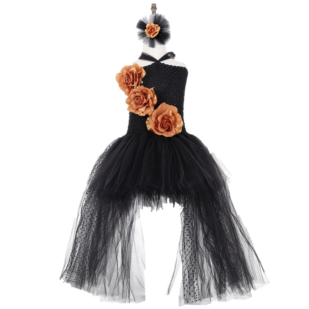 Black Polyester Mesh Polka Dot Dress with Gold Flower Wedding Long Train Halloween Costumes for Teens Xmas Clothes Vestido