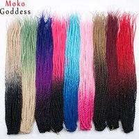 Mokogoddes Ombre Blonde Kanekalon Hair 24 Inch 30 Stands Pack Crochet Braids Senegalese Twist Braid Hair