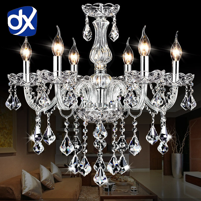 DX Clear Crystal LED Chandelier Lighting In Living Room Crystal Chandeliers Lustres De Cristal Chandelier LED Suspension