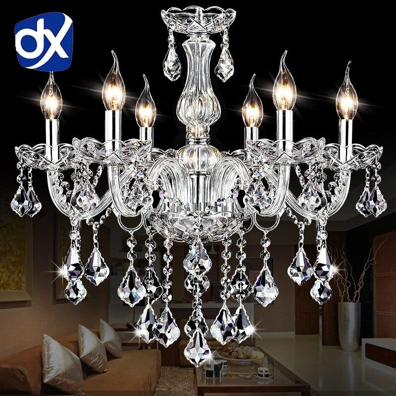 DX Clear Crystal LED Chandelier Lighting In Living Room Crystal Chandeliers Lustres De Cristal Chandelier LED Suspension