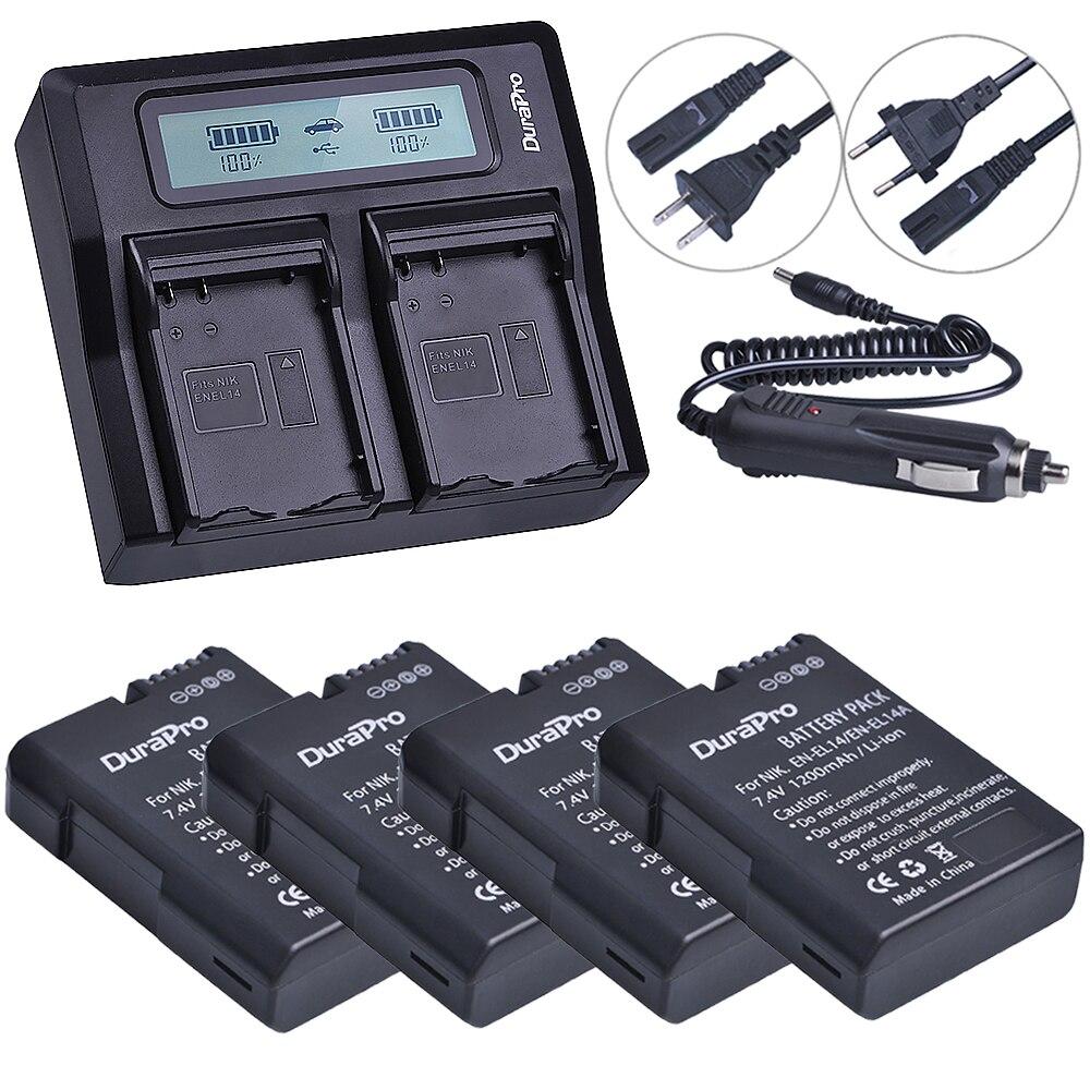 4pc EN-EL14 EN EL14 EL14A Camera Li-ion Battery + LCD Dual Fast Charger for Nikon ENEL14 d5300 d5200 d5100 d3100 d3200 P710 dste en el14 1600mah lithium full decoded battery for nikon d5100 d3200 d3100 d5300 more