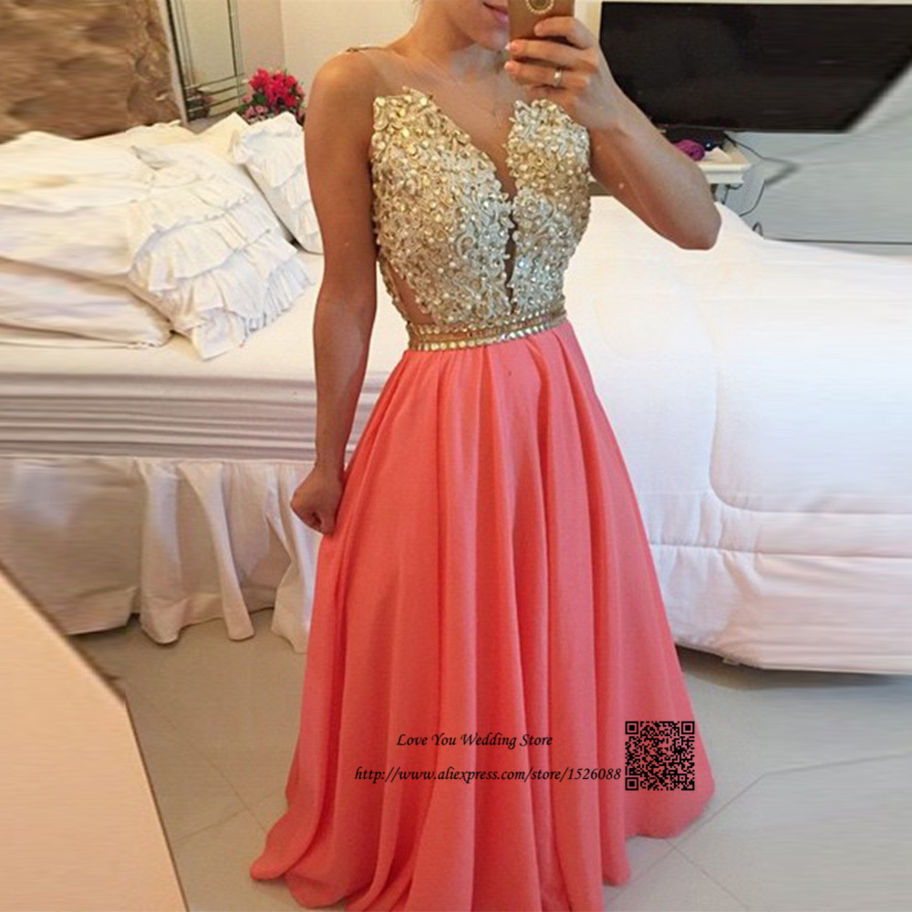 5d800a5d8858e Aliexpress.com : Buy Vestido de Festa Longo Coral Prom Dresses Cheap Gold  Lace Sexy Formal Evening Party Gowns Beads Tank Robe de Soiree Floor Length  ...
