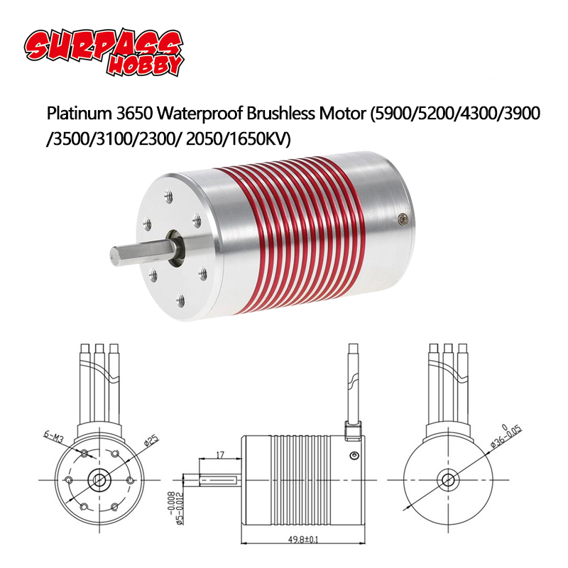 SURPASSHOBBY Platinum Waterproof Series 3650 3100KV 3500KV 3900KV 4300KV 5200KV Sensorless Brushless Motor for 1/10 RC Car Truck-in Parts & Accessories from Toys & Hobbies