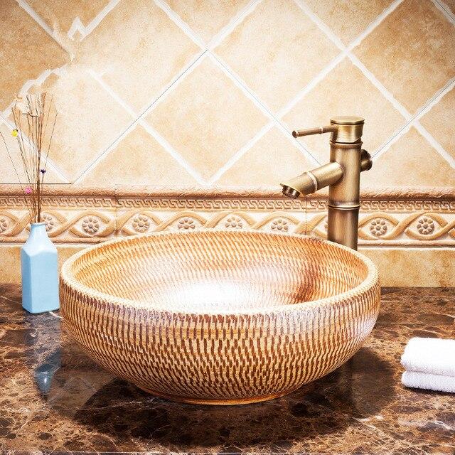 Jingdezhen Sanitari in ceramica lavabo lavandino da Appoggio Lavata ...