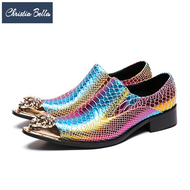 Mode hommes italiens chaussures avec bout en métal couleurs mélangées chaussures de mariage en cuir véritable parti chaussures d'affaires sans lacet grande taille