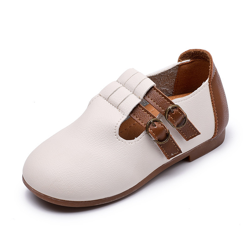 2017 Baby Girls Casual Leather Shoes Autumn Wear Children Pu Flat Shoes Stitching Style Soft Bottom