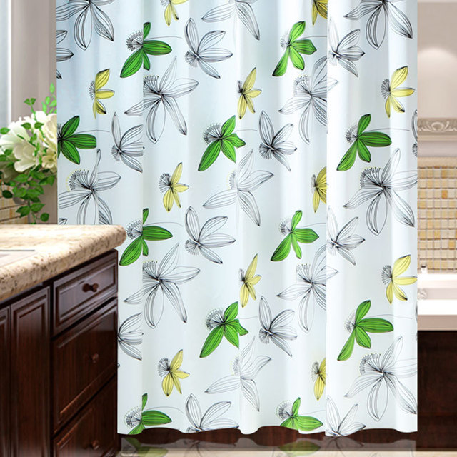 180x200cm Farmhouse Style Spring Shower Curtain PEVA Waterproof Bath Four Layer Process Mildewproof Bathroom