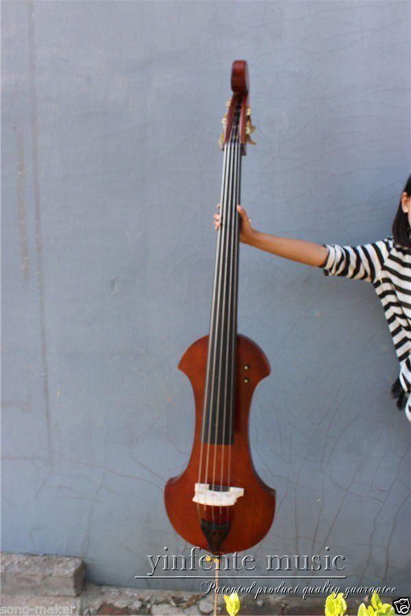 00120 1 # 4  string  brown   3/4 new    Electric Upright Double Bass Finish silent Powerful Sound 00120 1 4 string brown 3 4 new electric upright double bass finish silent powerful sound