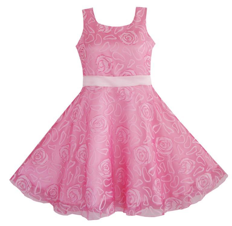 Sunny Fashion Muchachas del vestido de Rose rosada de la boda del ...