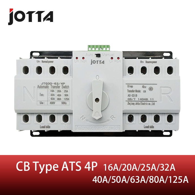 Jotta <font><b>ATS</b></font> 4P Dual Power Automatic Transfer <font><b>Switch</b></font> 4P Circuit Breaker MCB AC 230V 16A 20A 25A 32A 40A 50A 63A 80A 125A image